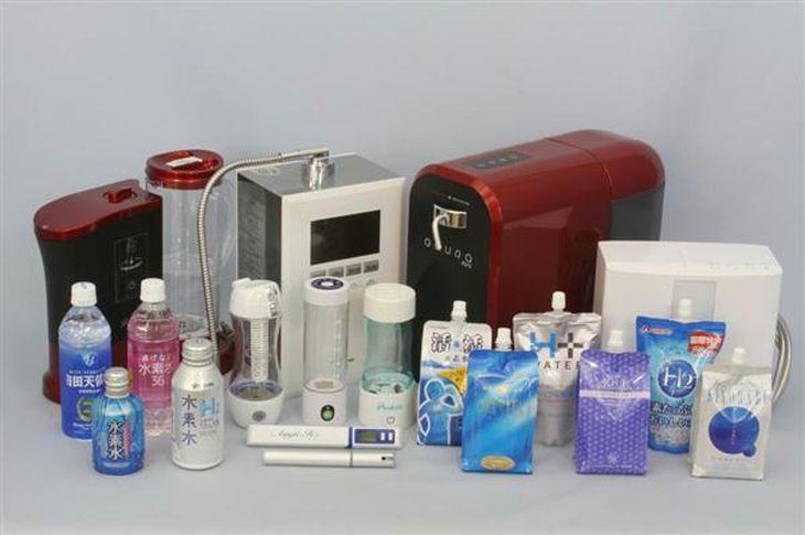 国民生活センターが調査した「飲用水素水」と「水素水生成器」(同センター提供)
