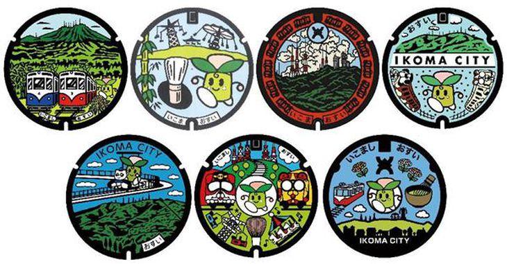 生駒市の新しいマンホールのデザイン案(生駒市提供)