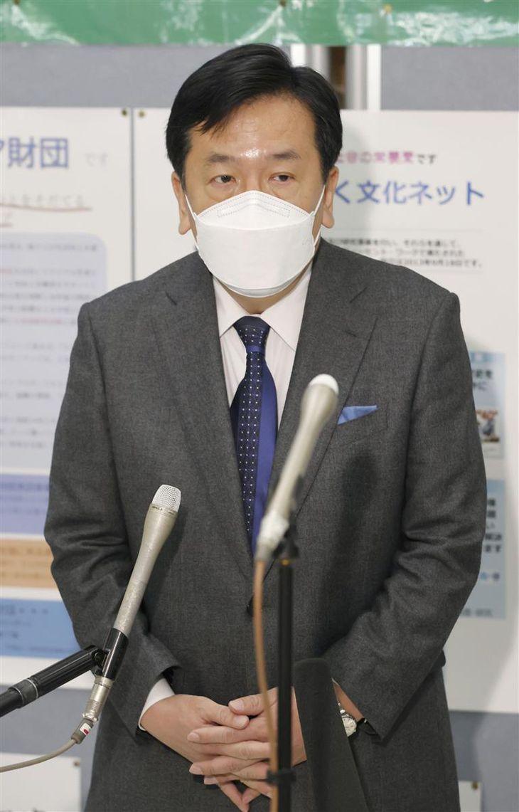 連合本部で記者の質問に答える立憲民主党の枝野代表=26日午前、東京都千代田区