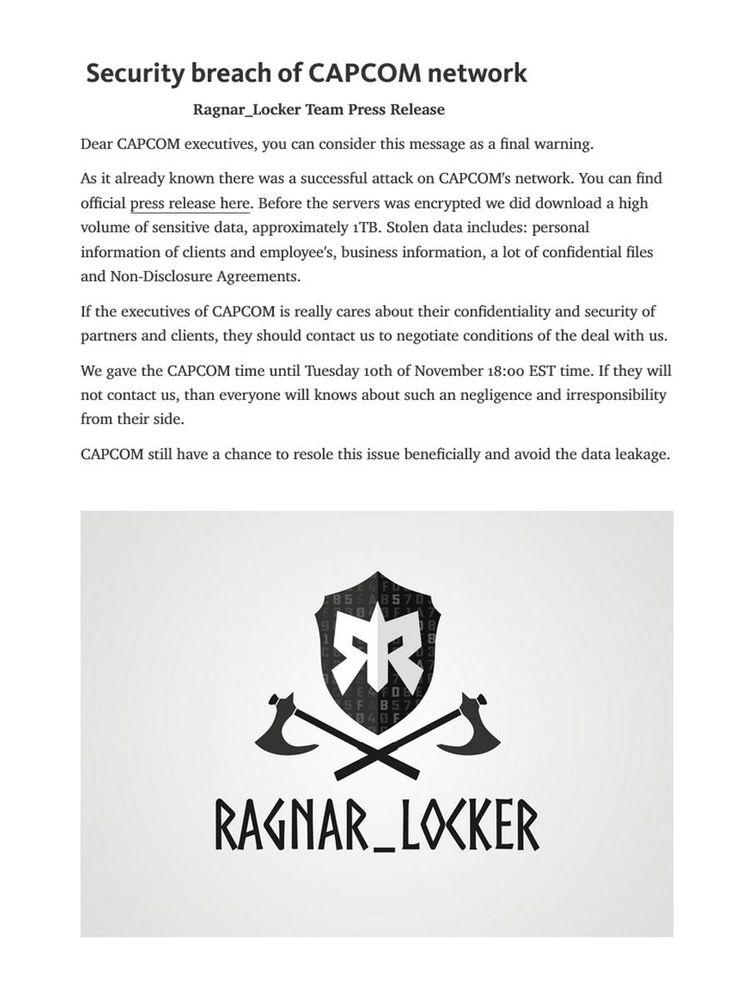 ダークウェブ上に発表されたカプコンに対するサイバー攻撃の犯行声明文とみられる文書