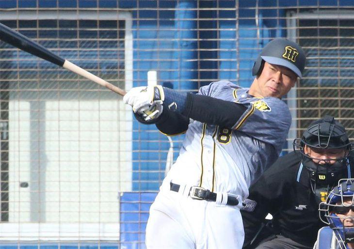 本塁打を放つ阪神・佐藤輝明(撮影・宮沢宗士郎)