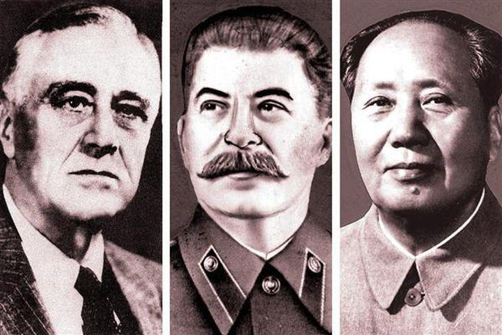 (左から)米国のフランクリン・ルーズベルト大統領、ソ連のヨシフ・スターリン書記長、中国共産党の毛沢東主席。日本と中国国民政府を戦わせることで利害が一致していた