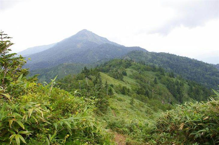 登山道から眺める、美しい山容の岩菅山