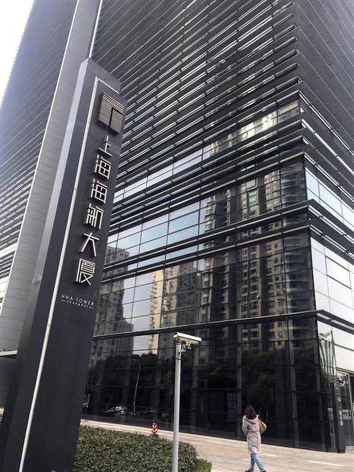 王岐山氏が後ろ盾とされる「海航集団」が上海に建設した拠点ビル(河崎真澄撮影)